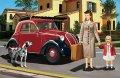 ブロンコ[Bro35167] 1/35 フィアットFAIT500トッポリーノ乗用車ハードトップ+女性と女児&犬