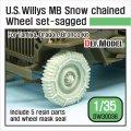 DEF.MODEL[DW30036]1/35 WWII米 ウィリスジープ タイヤセット /wスノーチェーン(タミヤ/DML/ブロンコ用)