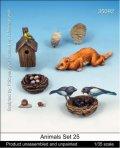 マンティス・ミニチュアズ[Man35092]1/35 動物セット25 蜂の巣、小鳥の巣、猫