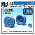 DEF.MODEL[DS32006]1/32 メッサーシュミット Me163B コメート 自重変形タイヤ 2(モンモデル用1/32)