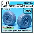 DEF.MODEL[DS48004]1/48 B-17F/G フライングフォートレス 自重変形タイヤ 2(レベルキット用1/48)