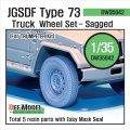 DEF.MODEL[DW35042]陸上自衛隊 73式小型トラック 自重変形タイヤ(トランぺッター用)