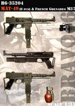 画像1: Bravo6[B6-35204]1/35 仏MAT-69 短機関銃(6個)&手榴弾セット
