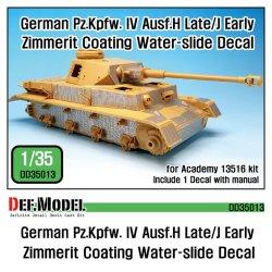 画像1: DEF.MODEL[DD35013]1/35 WWII 独IV号戦車H型後期型/J型初期型ツメリットコーティングデカールセット(アカデミー用)