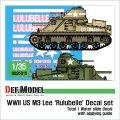 DEF.MODEL[DD35015]1/35 WWII 米 M3リー中戦車「ルル・ベル号」デカールセット(各社1/35 M3中戦車対応)