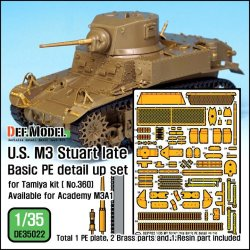 画像1: DEF.MODEL[DE35022]1/35 WWII米 M3軽戦車後期型 エッチング基本セット(タミヤ用)