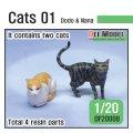 DEF.MODEL[DF20008]1/20 ジオラマアクセサリー 猫セット「ドドとナナ」