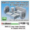 DEF.MODEL[DM35104]1/35 WWII 米陸軍 ウィリスMB用トレーラー積載物&自重変形タイヤセット(タコム ブロンコ用)