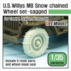 画像1: DEF.MODEL[DW30036]1/35 WWII米 ウィリスジープ タイヤセット /wスノーチェーン(タミヤ/DML/ブロンコ用)
