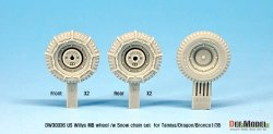 画像3: DEF.MODEL[DW30036]1/35 WWII米 ウィリスジープ タイヤセット /wスノーチェーン(タミヤ/DML/ブロンコ用)