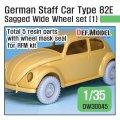 DEF.MODEL[DW30045]1/35 WWII 独 ドイツスタッフカー タイプ82E用ホイールセット01ワイド型(RFM用)