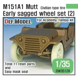 画像1: DEF.MODEL[DW35124]1/35 ベトナム戦争 米陸軍M151A1初期型自重変形タイヤセット2 ラジアルタイヤ仕様Fサスパーツ付(タミヤ/アカデミー用)