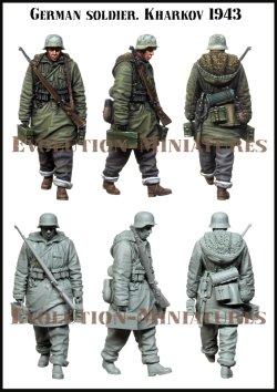 画像2: エボリューション[EM-35221]1/35 WWIIドイツ歩兵冬季行軍 両手に弾薬箱を持つ兵士 ハリコフ1943