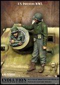 エボリューション[EM-35188]1/35 WWIIアメリカ陸軍歩兵 鹵獲戦車の主砲に潜り込むGI