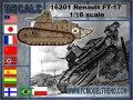 FC★MODEL[FC16201]1/16 デカール 世界各国で運用されたFT-17