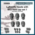 FC★MODEL[FC35889] Cabezas con gorra M43 Luftwaffe, set 1. Escala 1/35