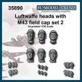 FC★MODEL[FC35890] Cabezas Luftwaffe con gorra M-43, set 2. Escala 1/35.