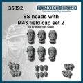 FC★MODEL[FC35892] Cabezas SS con gorra M43, set 2. Escala 1/35