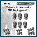 FC★MODEL[FC35893] Cabezas Wehrmacht con gorra M-43, set 1. Escala 1/35