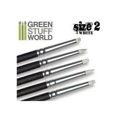 画像1: グリーンスタッフワールド[GSWD-114]ホワイトシリコンシェイパーブラシ サイズ ♯2 ソフトタイプ