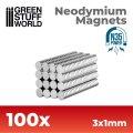 グリーンスタッフワールド[GSWD-9061]ネオジム磁石 3x1mm - 100 個入 (N35)