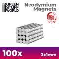 グリーンスタッフワールド[GSWD-9263]ネオジム磁石 3x1mm - 100 個入 (N52)