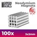 グリーンスタッフワールド[GSWD-9264]ネオジム磁石 3x2mm - 100 個入 (N52)