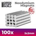 グリーンスタッフワールド[GSWD-9265]ネオジム磁石 5x2mm - 100 個入 (N52)