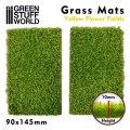 グリーンスタッフワールド[GSWD-10341]ジオラマ素材 芝マットカット版 黄色い花が咲く緑地