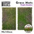 グリーンスタッフワールド[GSWD-10342]ジオラマ素材 芝マットカット版 紫の花が咲いた牧草地