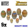 グリーンスタッフワールド[GSWD-2534]ジオラマアクセサリー 木樽9個セット(レジン製)