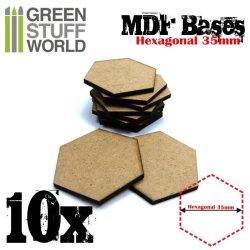 画像2: グリーンスタッフワールド[GSWD-9356]MDFベース 六角形型セット(直径35mm) 10枚入