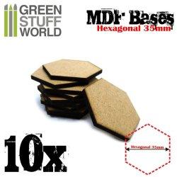 画像1: グリーンスタッフワールド[GSWD-9356]MDFベース 六角形型セット(直径35mm) 10枚入