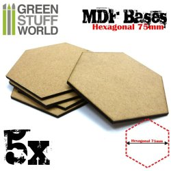 画像3: グリーンスタッフワールド[GSWD-9358]MDFベース 六角形型セット(直径75mm) 5枚入