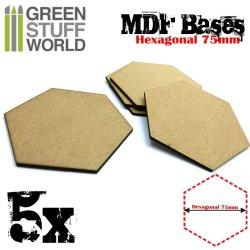 画像1: グリーンスタッフワールド[GSWD-9358]MDFベース 六角形型セット(直径75mm) 5枚入