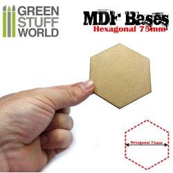 画像2: グリーンスタッフワールド[GSWD-9358]MDFベース 六角形型セット(直径75mm) 5枚入