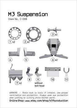 画像1: K59[C-008]1/35 WWII 米 M2/M3ハーフトラック用サスペンションセット 改訂版(ドラゴン用)