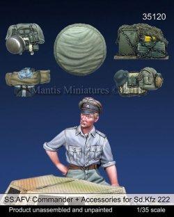 画像1: マンティス・ミニチュアズ[Man35120]1/35 WWII 独 SS 武装親衛隊 装甲車に跨るSS戦闘指揮官とSd.Kfz.222用車外装備品&予備タイヤセット(タミヤ用)