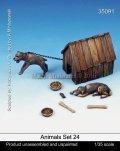 マンティス・ミニチュアズ[Man35091]1/35 動物セット24 イヌと犬小屋