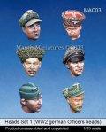 マンティス・ミニチュアズ[MAC03]1/35 ヘッドセット1 WWIIドイツ将校ヘッド