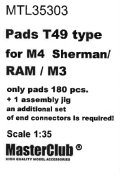 MasterClub[ MTL-35303]Pads T49 type for M4  Sherman/M3/RAM, only pads 180 pcs, an additional set of end connectors is required