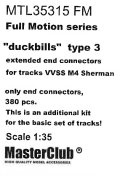"""MasterClub[ MTL-35315]Full Motion extended end connectors """"duckbills"""" type 3 for tracks VVSS M4 Sherman, only end connectors 380 pcs, this is an additional kit for the basic set of tracks, limited edition"""