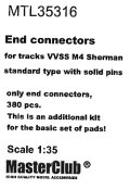 MasterClub[ MTL-35316]End connectors (w. solid pins) for tracks VVSS M4 Sherman, only end connectors 380 pcs, this is an additional kit for the set of pads