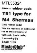MasterClub[ MTL-35324]Worn rubber pads T51 type for M4  Sherman/M3/RAM, only pads 180 pcs, an additional set of end connectors is required