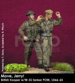 画像1: Rado Miniatures[RDM35024]1/35 WWII 英「歩け、ジェリー!」ドイツSS戦車兵捕虜を連行するイギリス歩兵 1944-45(2体セット)