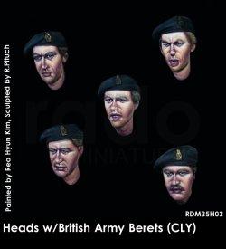 画像1: Rado Miniatures[RDM35H03]1/35 WWII 英 イギリス陸軍 ベレー帽を被る英兵スペアヘッドセット(5個入り)