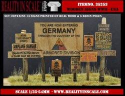 画像1: Reality in Scale[RIS35253]WWII米 本物の木材に印刷された標識 1