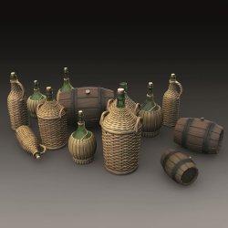 画像1: RoyalModel[RM786]1/35 ウィッカ用細首大型ガラスグラズと小径樽