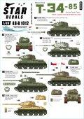 STAR DECALS[SD48-B1012]1/48 WWII 露/ソ T-34-85中戦車 諸外国のT-34-85 ドイツ鹵獲戦車 ポーランド ユーゴスラビア チェコ赤軍