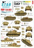 STAR DECALS[SD72-A1021]1/72 WWII 独 イタリア戦線のドイツ戦車#1 シチリア島編1943年 タイガーI極初期型 III号突撃F/8型 III号戦車J/N/M 型IV号G/H型